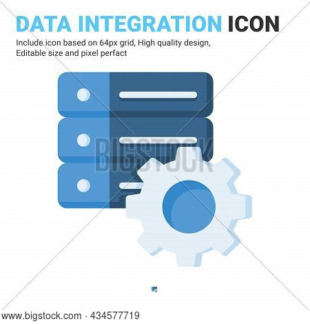 Data Integration Icon Vector With Flat Color Style Isolated On White Background. Vector Illustration