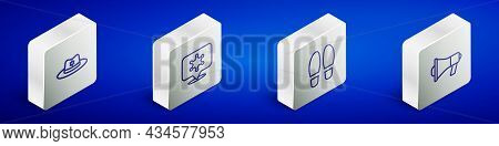 Set Isometric Line Sheriff Hat With Badge, Hexagram Sheriff, Footsteps And Megaphone Icon. Vector