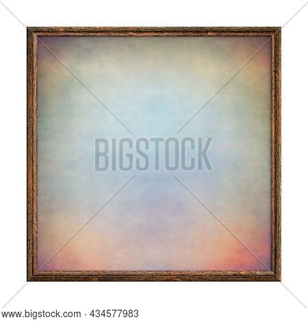 Wooden Brown Frame. Empty Square Frame With Colored Abstract Fill Texture Isolated On White Backgrou