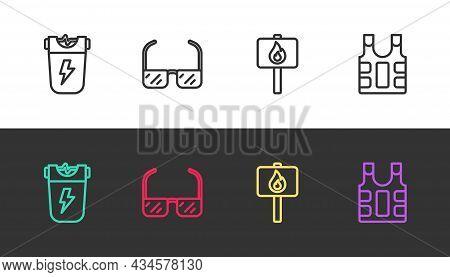 Set Line Police Electric Shocker, Safety Goggle Glasses, Protest And Bulletproof Vest On Black And W