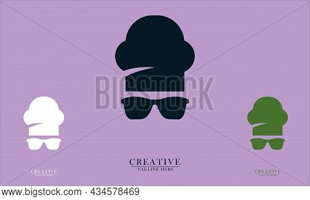 Chef Hat And Simple District Design, Great For Restaurant, Food And Beverage Chef Logo Icons. Vector
