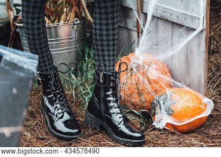 Beautiful Scary Little Girl In Black Boots,checked Tights Celebrating Halloween With Pumpkins. Terri