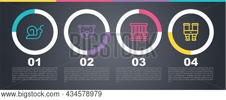 Set Line Snail, Tiger Head, Animal Cage And Binoculars. Business Infographic Template. Vector