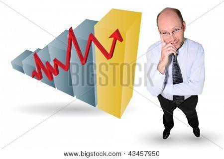 Businessman with an upwards growth chart