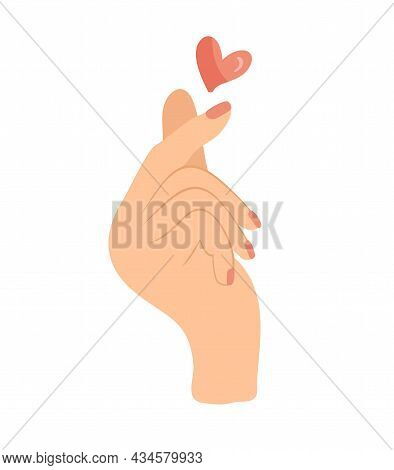 Vector Doodle Of Hand Showing Heart With Fingers Gesture Mini Love. Color Hand Drawn Illustration Au