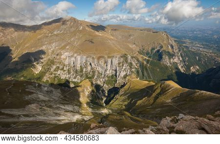Beautiful Valley (gole Dell'infernaccio) View From The Peak Of Monte Sibilla In The National Park Of
