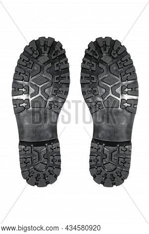 Rubber Soles Of Military Boots With Tread On A White Background.studded Sole Of Military Boots Top V