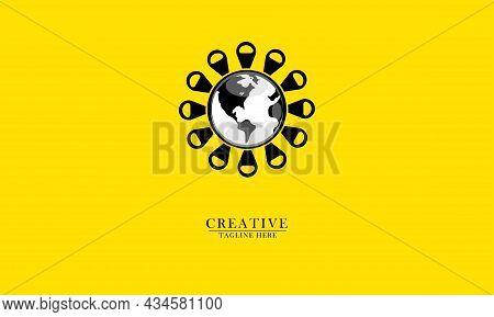 World Map Globe Surrounded By Virus, Great For Health Logo Icon, Virus Outbreak Warning, Virus Pande
