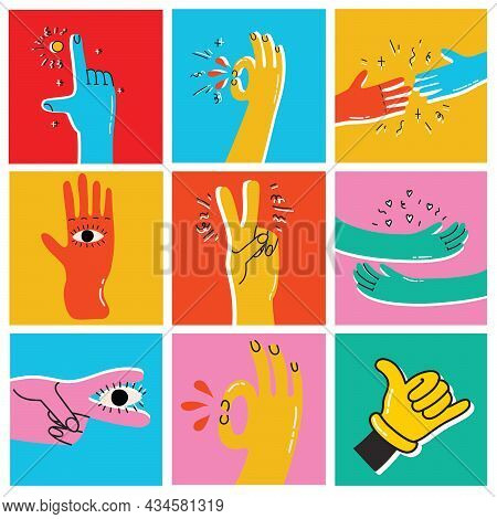 Set Of Cartoon Style Hands With Ok, Cool, Friendship Signs. Hand Drawn Vector Trendy Illustration. F