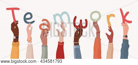 Group Of Arms And Raised Hands Of Diverse Multicultural Business People Holding A Letters Forming Th