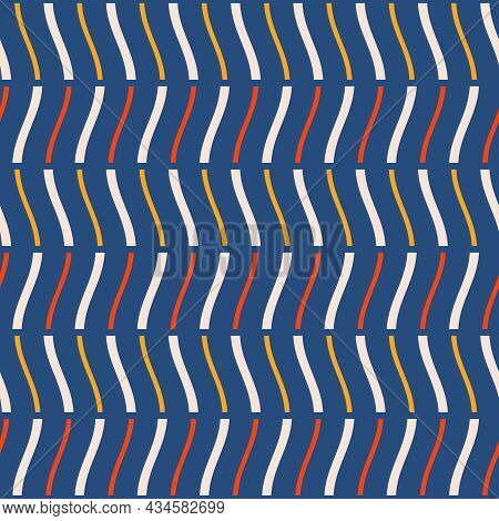 Seamless Fashion Striped Vector Pattern. Wavy Lines, Stripes, Isolated On Blue Background. Vibrant C