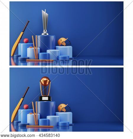 Two Images Of 3D Cricket Equipment With Trophy Cup In Different Level Podiums.