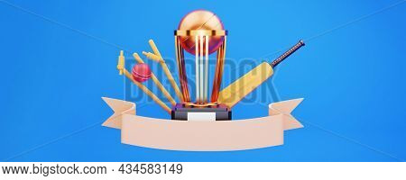 3D Golden Trophy Cup With Cricket Equipment And Empty Ribbon On Blue Background.