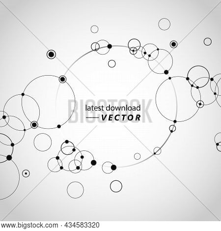 Circles Connect With Dots. Network Technology Communication Background. Lines Dots Element. Concept