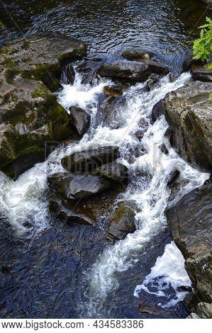 Betws-y-coed Waterfall At Waterloo Bridge, In North Wales