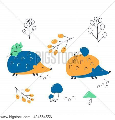 Two Blue Hedgehogs Walking Through The Forest With Berries And Mushrooms. Vector Illustration Is Gre