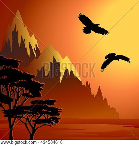 Mountains And Birds In Vector Illustration.mountains And Flying Birds On The Background Of The Sunse