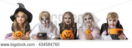Group of children in fancy Halloween costume dress isolated on white background, going trick or treating