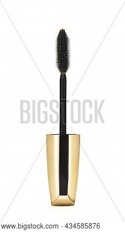 Black Golden Mascara Brush Isolated On White Background