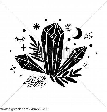Spirituality Crystal Moon Logo. Graphic Magical Stone. Spiritual Stone Illustration. Vector Minerals