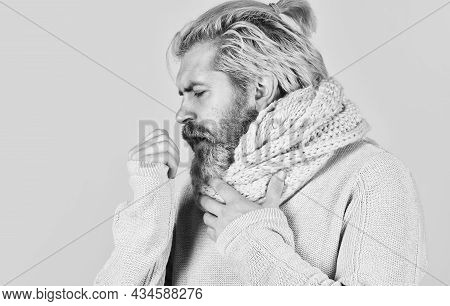 An Annoying Cough. Cough And Runny Nose Symptoms. Brutal Male Get Flu In Winter. Warm Up With Knitwe