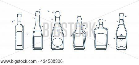 Bottle Vodka Wine Champagne Whiskey Liquor Martini Line Art In Flat Style. Restaurant Alcoholic Illu