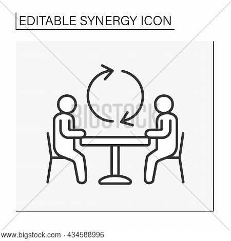 Communication Line Icon. Negotiating Table. Collaborations Between Workers. Synergy Concept. Isolate