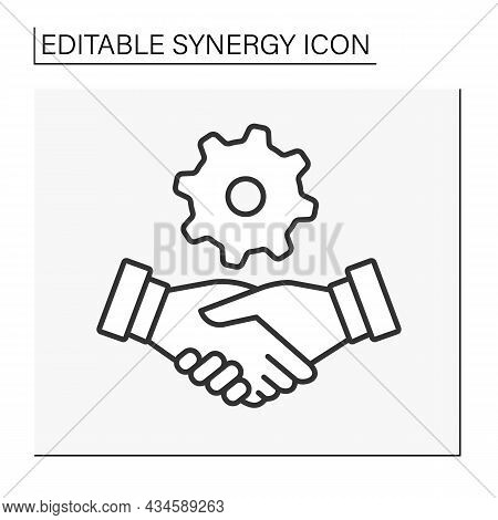 Handshaking Line Icon. Deal Between Partners. Community Involvement. Synergy Concept. Isolated Vecto