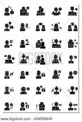 Woman Glyph Icons Set. Consists Of Comedian, Gamer, Dj, Invest, Film Director, Ceo, Pilot, Boss, Ang