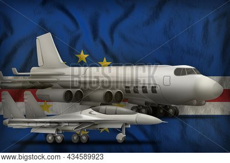 Air Forces On The Cabo Verde Flag Background. Cabo Verde Air Forces Concept. 3d Illustration