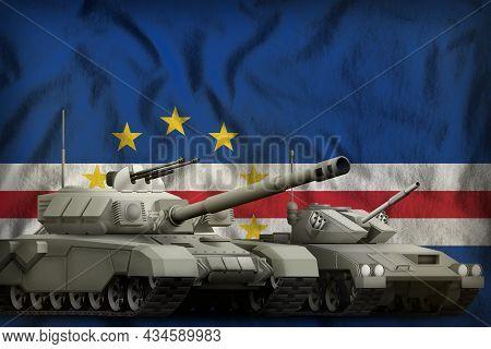 Tanks On The Cabo Verde Flag Background. Cabo Verde Tank Forces Concept. 3d Illustration