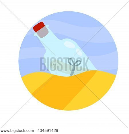 Message In Bottle In Sand. Letter And Pirate Note In Shore Or Coast. Blue Glass. Cartoon Illustratio