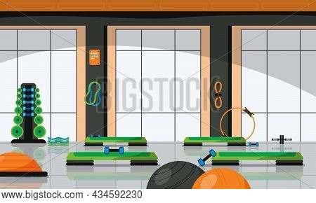 Gym Fitness Colored Composition Room For Group Sports Classes In Fitness Club Vector Illustration