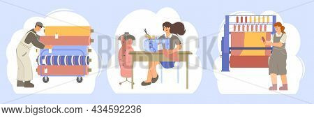 Clothes Factory Set Of Three Flat Compositions With Characters Of Tailors And Manufacture Workers Wi