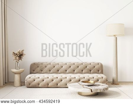 Contemporary Classic White Beige Interior With Sofa And Decor. 3d Render Illustration Mockup.