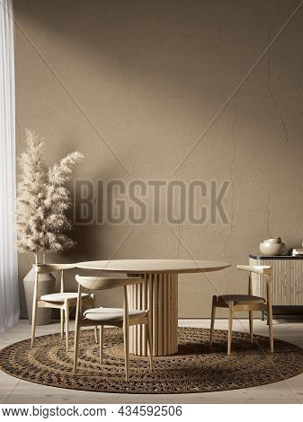 Beige Brown Interior With Dining Table And Chair. 3d Render Illustration Mockup.