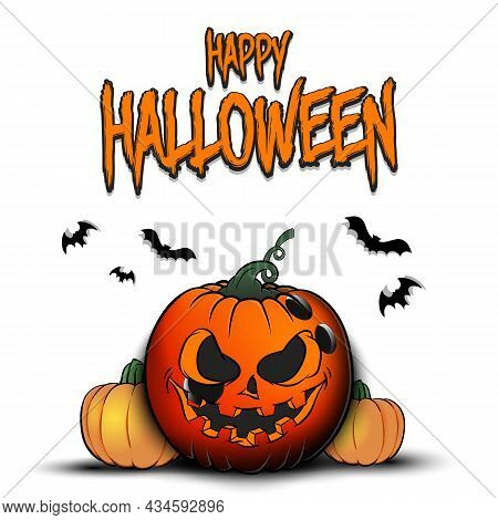 Happy Halloween. Bowling Ball As Pumpkin