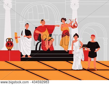 Ancient Roman People With Emperor On Throne Senator Woman Playing Harp In Palace Flat Vector Illustr