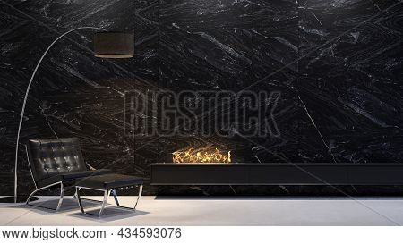 Contemporary Minimalist Night Lighting Interior With Marble Wall, Fireplace And Lounge Chair. 3d Ren