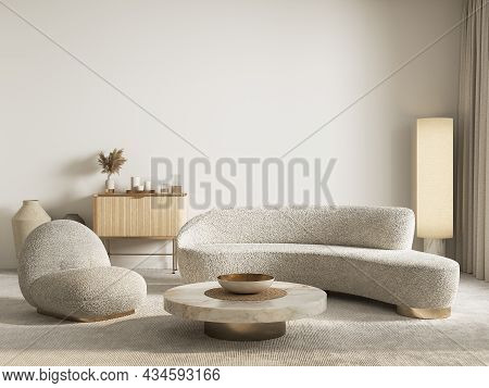 Contemporary Classic White Beige Interior With Furniture And Decor. 3d Render Illustration Mockup.