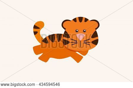 Cute Cartoon Striped Tiger. Happy Chinese New Year 2022 And Merry Christmas. Cute Cartoon Striped Ti