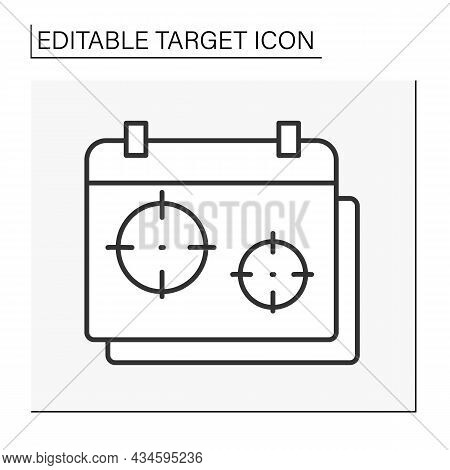 Calendar Line Icon. Special Dates In Schedule. Aims To Achieving Goals.target Concept. Isolated Vect