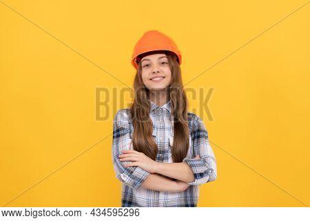 Crossed Hands. Happy Child Worker Wear Hardhat. Childhood Development. Happy Labour Day.