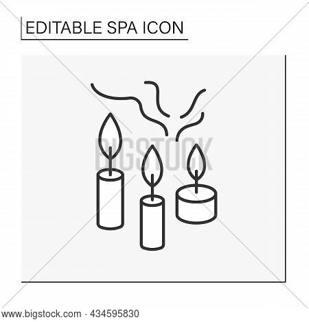 Therapeutic Candles Line Icon. Essential Oils Candles Reduce Anxiety And Stress. Aromatherapy. Cosme