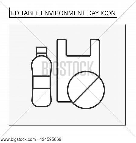 Ecology Line Icon. Reducing Plastics Consumption. Plastic-free Life. Eco Awareness. Environment Day