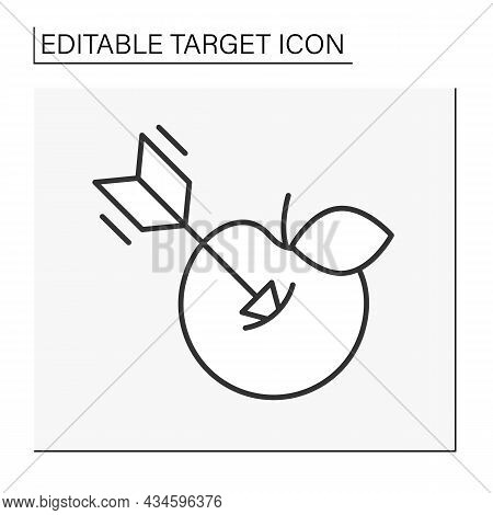 Purpose Line Icon. Arrow In Apple. Archery Game. Direct Hit To Bull Eye. Target Concept. Isolated Ve