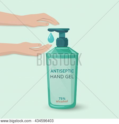 Alcohol  Hygienic Gel, Liquid Antiseptic Soap For Hands. Sanitizer To Protect Against Germs, Bacteri