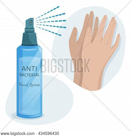 Alcohol  Hygienic Spray,  Liquid Antiseptic For Hands. Sanitizer To Protect Against Germs, Bacteria