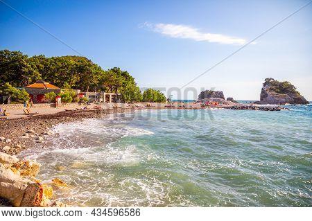 Island Of St. Nicholas, Montenegro - September 20, 2021: A Wild Beach On The Island Of St. Nicholas
