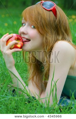 Pretty Girl With Apple